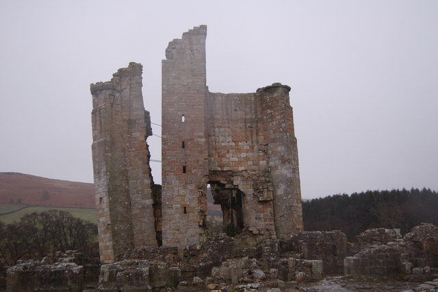 Edlingham Castle - shows the wall falling away