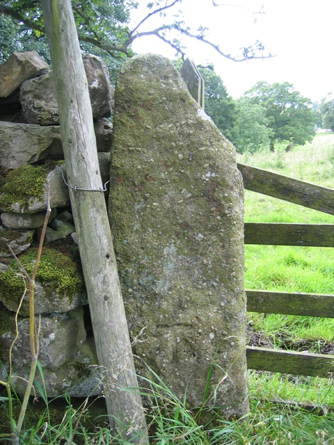 Gatepost and benchmark on Cow Close Lane
