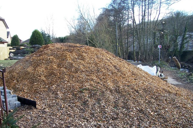 Wood Chippings from felled trees during the flood clear up in Oughtibridge