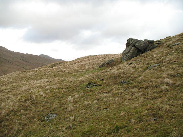 Outcrop on the northwest ridge of Beinn Chaorach