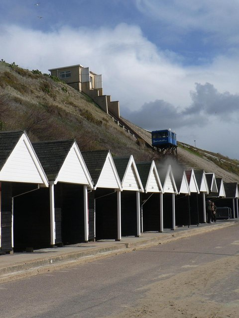 Southbourne: beach huts and cliff lift