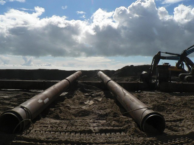 Southbourne beach replenishment: two large pipes