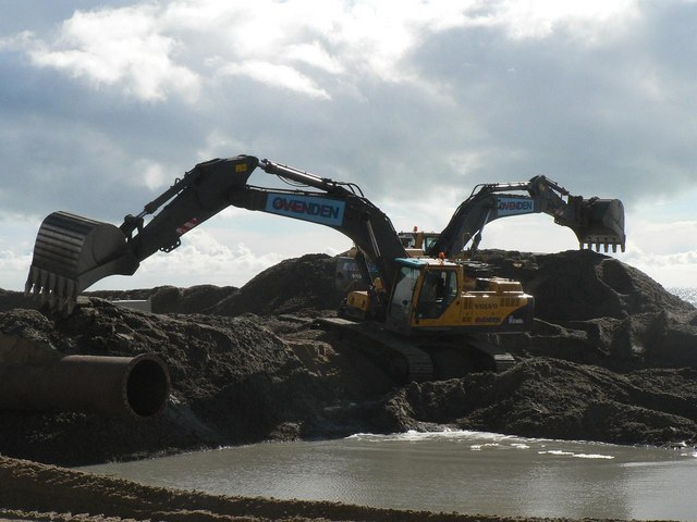 Southbourne beach replenishment: two diggers at work