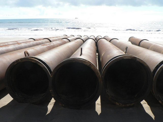 Southbourne beach replenishment: pipes lined up