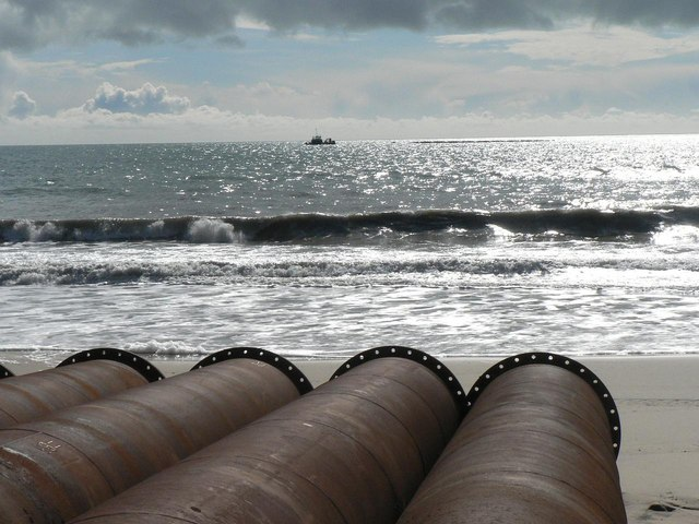 Southbourne beach replenishment: view over pipes