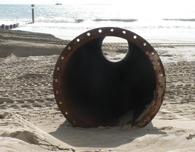 Southbourne beach replenishment: pipe awaits collection