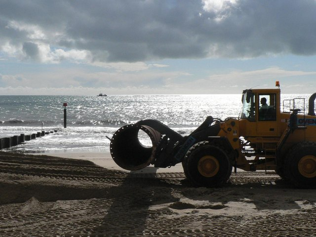 Southbourne beach replenishment: pipe on board