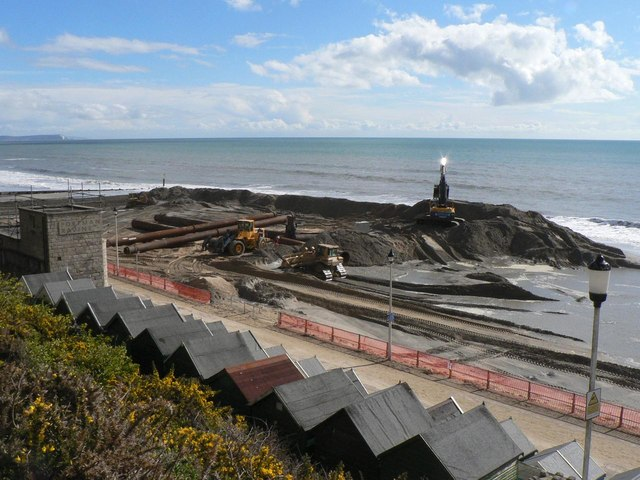 Southbourne beach replenishment: diggers and pipes