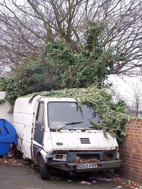 Overgrown van