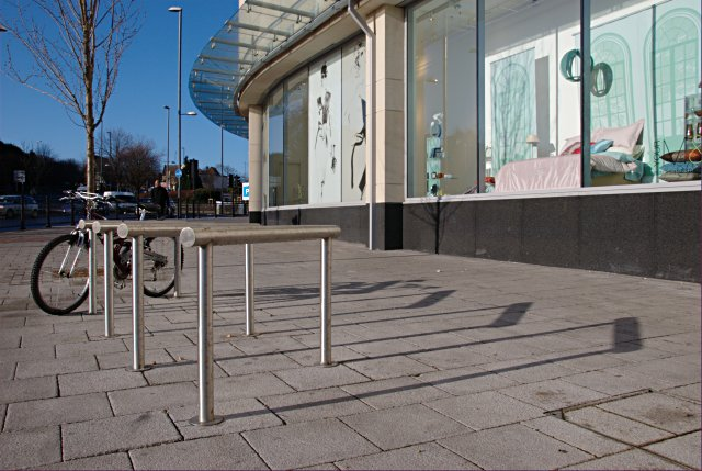 Cycle parking in front of the Westfield Centre