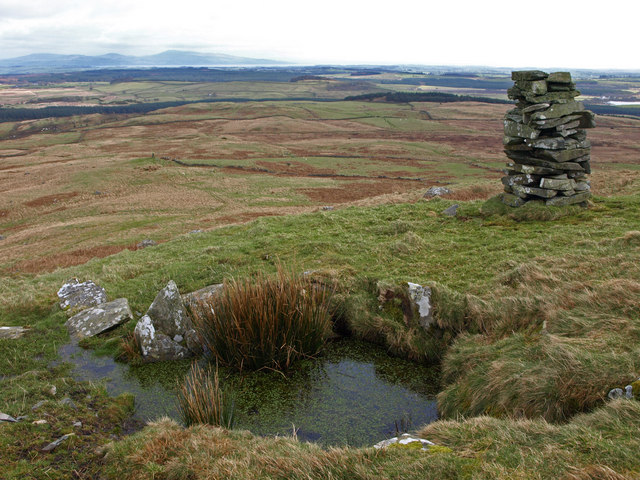 Well and cairn on Mochrum Fell