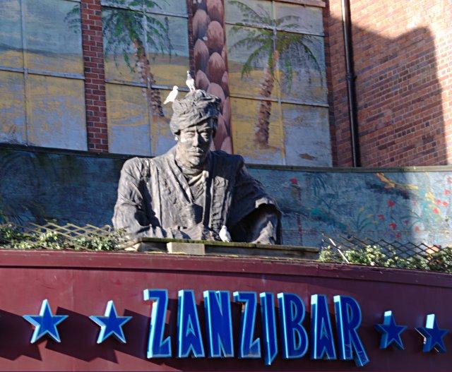 Statue above Zanzibar nightclub