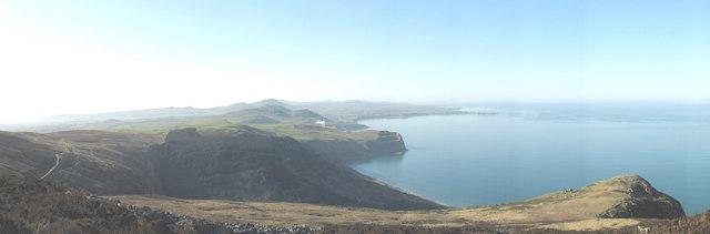 Nant Gwrtheyrn  and adjoining coastlands from the summit of Yr Eifl