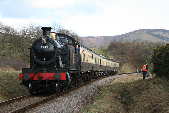 Crowcombe: train at Leighwood Crossing
