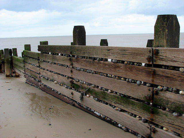 Wooden groyne and pebbles