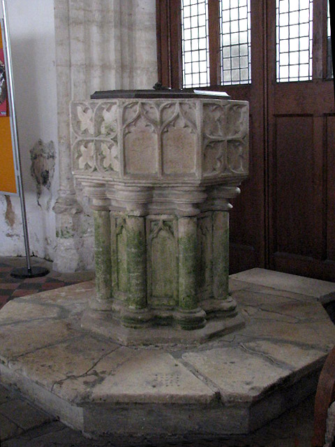 The church of St Giles - baptismal font