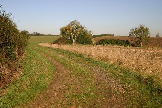 Bridleway heading towards Keyston