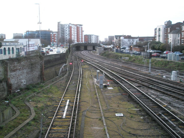 Railway tracks looking towards Southsea