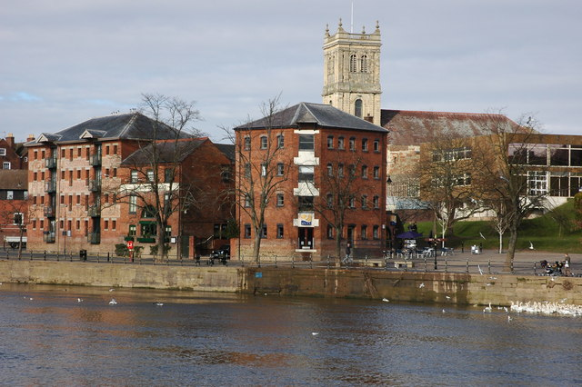 Riverside buildings in Worcester
