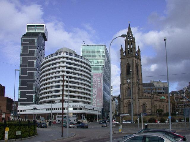 Atlantic Tower Hotel and St. Nicholas' Church