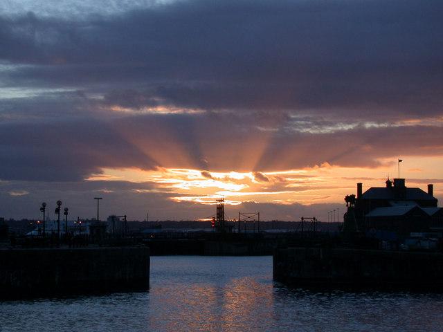 Liverpool Docks sunset