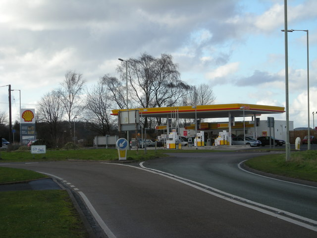 Shell Filling Station at junction of A442, B4176 & B4379