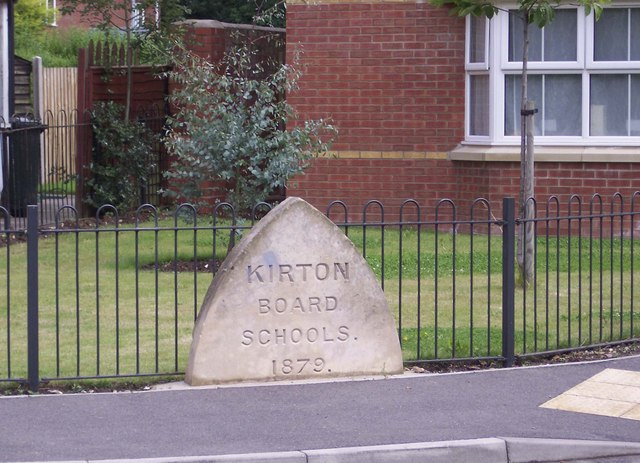Old primary school marker stone, Kirton