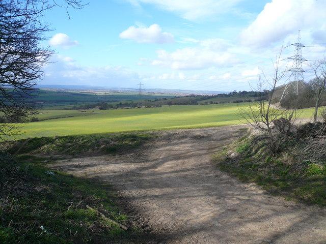 Farmtrack View from fields opposite Lanes Farm