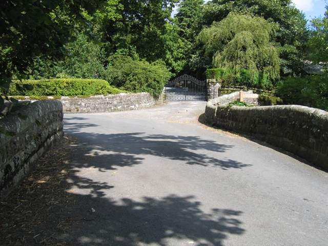 Hanlith Bridge and the gates to Hanlith Hall