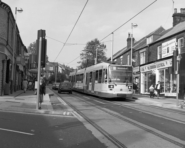 A Sheffield tram in Middlewood Road,  Hillsborough