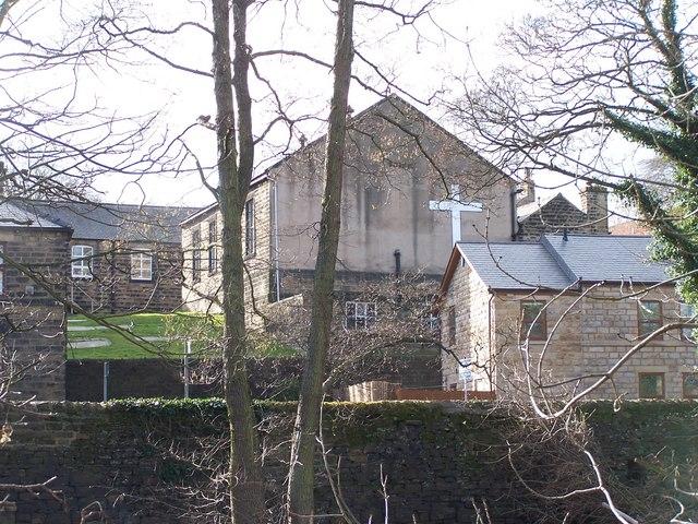Rear view of Zion Chapel, Oughtibridge taken from across the River Don