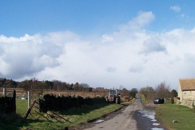 View of Long Lane, near Stocksbridge, taken from The Poplars junction