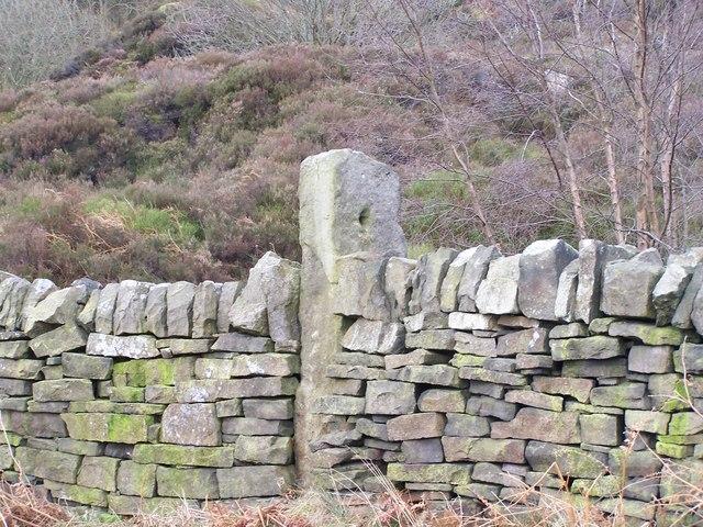 Boundary Stone in Dry Stone Wall, near Canyards