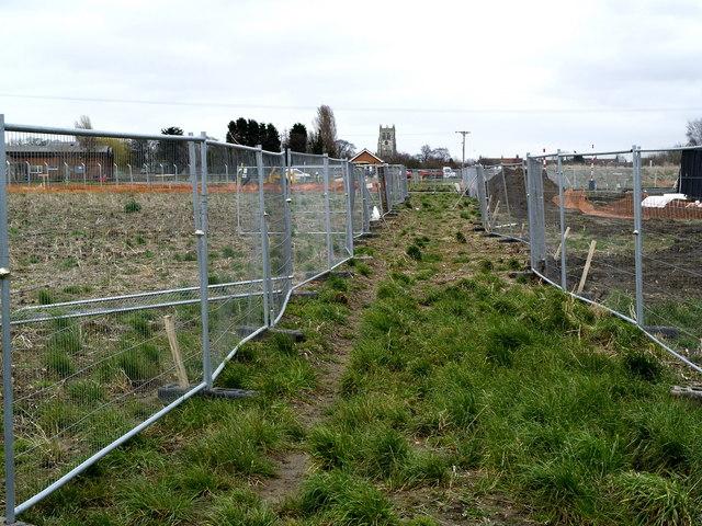 Temporary public footpath west of Preston