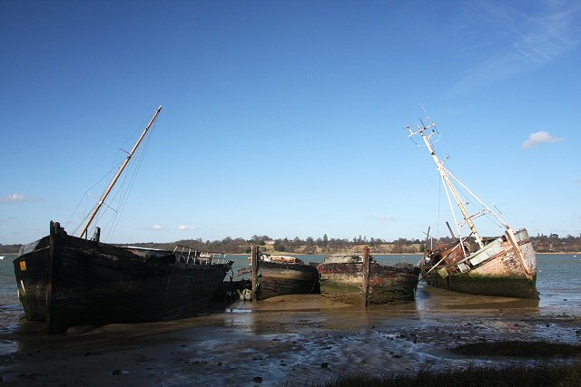 Old boats in the River Orwell