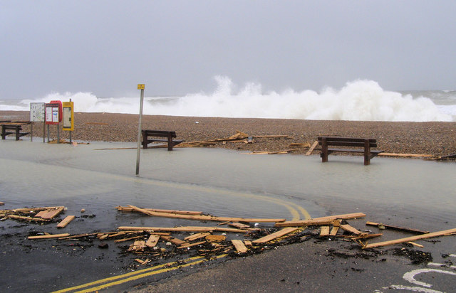 Seaford seafront during a storm