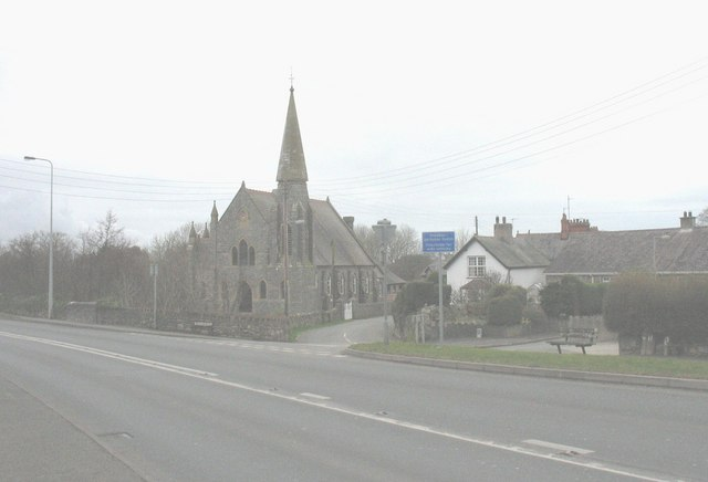 Junction of minor road with the A487 at Glan-rhyd