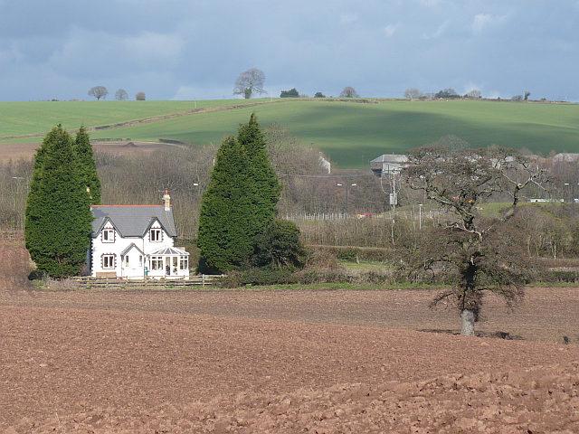 View across a ploughed field near Castleton