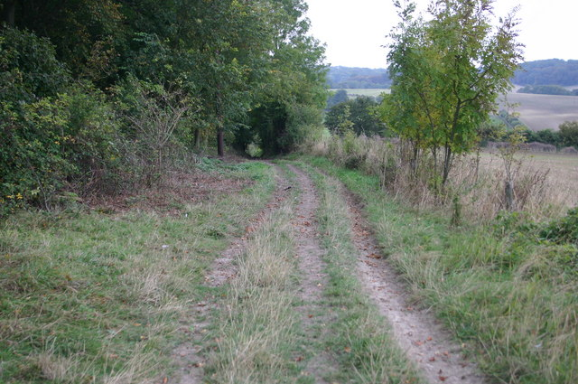 Bridleway heading down to Little Chishill