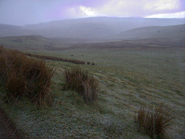 Hailstorm sweeping across Cwm Glasffrwd