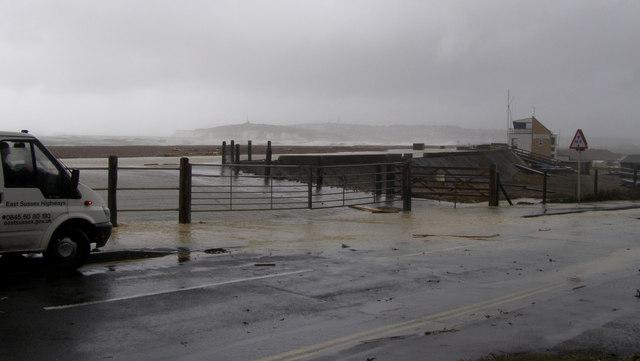 Marine Parade Seaford during storm