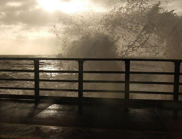 Breaking wave at Dawlish station