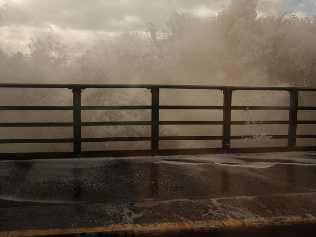 Breaking wave at Dawlish station