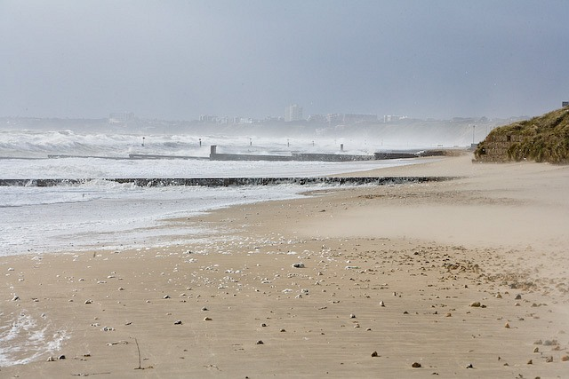 Looking along beach towards Southbourne in stormy weather