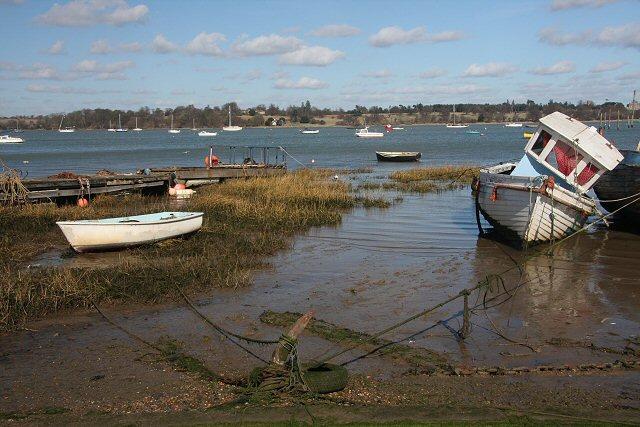 Boats moored at Pin Mill