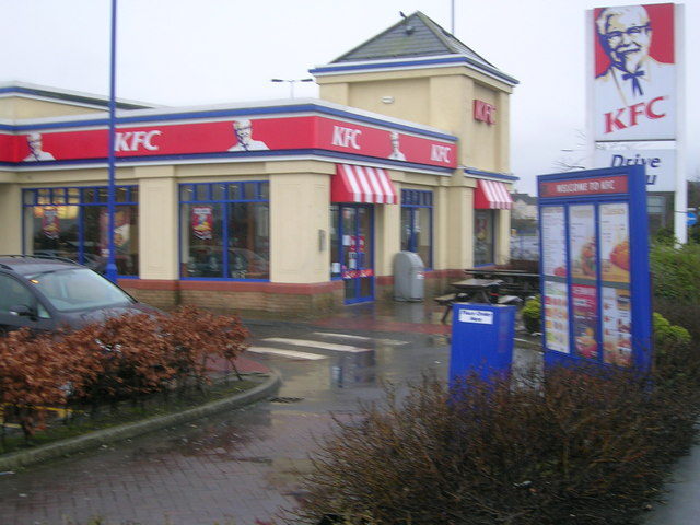 KFC, Kirkcaldy (showing entrance and drive-thru lane)