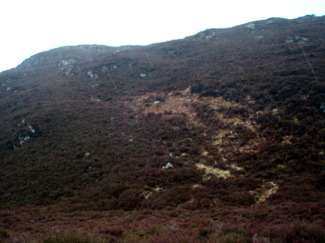 Wet hillside near Loch na Ba