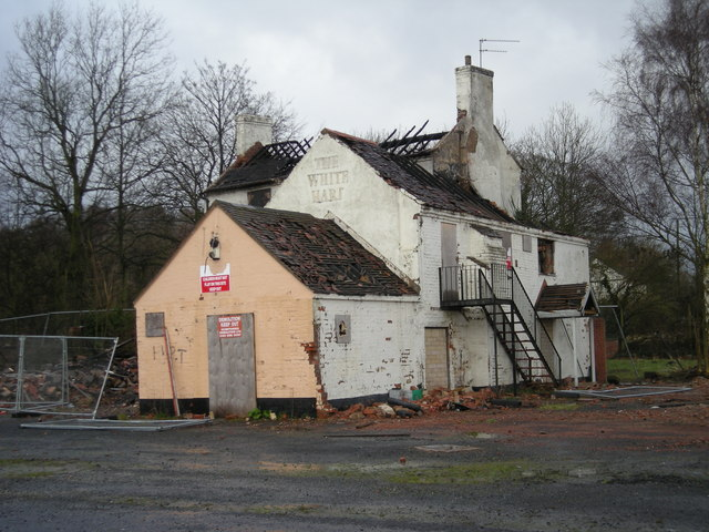 The White Hart: a burned out shell