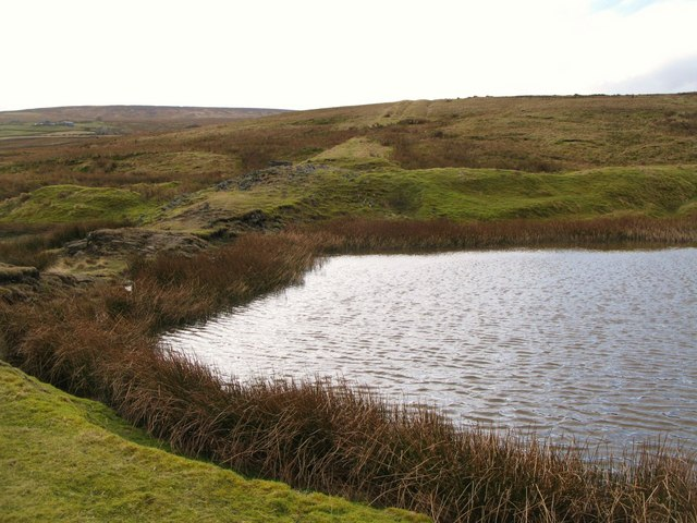Pond at the (former) Allenheads Smelt Mill and the line of the lead smelting flue