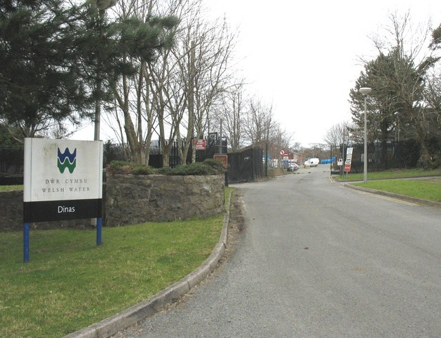 The main entrance to the Welsh Water Depot at Dinas